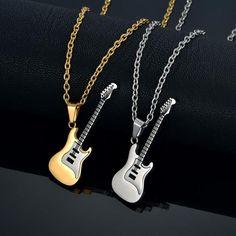 Guitar Pendant Necklace - Mr Peachy Guitar Pick Jewelry, Music Jewelry, Cute Jewelry, Gold Jewelry, Music Necklace, Pendant Jewelry, Pendant Necklace, Unique Diamond Rings, Kawaii Accessories