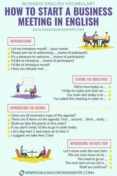 How to start a business meeting in English. Useful business English phrases for introductions, presenting, starting a speech, asking for information, . How to start a business meeting in English. English Learning Spoken, Teaching English Grammar, English Vocabulary Words, English Phrases, Learn English Words, English Language Learning, Teaching Spanish, Vocabulary Pdf, Spanish Language