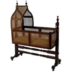 A Victorian Caned Hanging Cradle or Bassinet. England circa 1880 A Victorian cane-filled hanging bassinet with peaked hood. Plywood Furniture, Wicker Furniture, Baby Furniture, Unique Furniture, Furniture Design, Hanging Bassinet, Hanging Cradle, Victorian Furniture, Vintage Furniture
