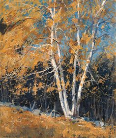 Birches in Fall, Emile Albert Gruppe. Oil Painting Texture, Autumn Painting, Watercolor Trees, Watercolor Landscape, Birch Tree Art, Modern Impressionism, Cottage Art, Landscape Artwork, Birches