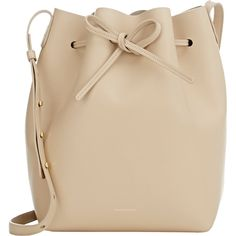 Mansur Gavriel Large Bucket Bag ($695) ❤ liked on Polyvore featuring bags, handbags, shoulder bags, yellow, yellow shoulder bag, bucket shoulder bag, leather handbags and brown purse