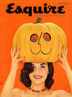 #Esquire Magazine turns black and #pumpkin orange for its 1955 #Halloween Cover