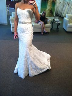 Wedding dress mermaid. I love the lace and embellishment