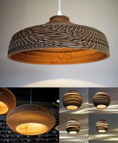 the possibilities are endless Gorgeous recycled cardboard lamp shades Cardboard Design, Cardboard Art, Cardboard Furniture, Cardboard Boxes, Wooden Lampshade, Wood Lamps, Lampshades, Diy Lampe, Rustic Lamp Shades