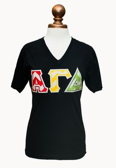 Represent Alpha Gam with these red, buff and green stitched letters! American Apparel black V-neck available in sizes XS-XXL. Great option for any chapter order. See our Size Chart