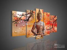 Wholesale Panel Wall - Buy 5 Panel Wall Art Religion Buddha Oil Painting On Canvas Modern Decorative Modern Acrylic Paintings, $45.92 | DHgate