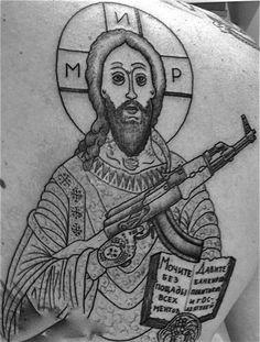 Nella tradizione dei fuorilegge siberiani i santi erano rappresentati come i criminali: tatuati e armati, proprio come questo Cristo.