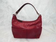 LAUREN LEATHER HANDBAG, RLL Red Leather Single Strap Shoulder Strap 9L 4.5Ht 4D #LAURENbyRalphLauren #ShoulderBag