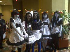 Maidstuck Homestuck cosplay (L-R: Terezi Pyrope, Feferi Peixes, Eridan Zahhak, Nepeta Leijon, Aradia Megido)
