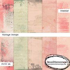 painted vintage scraps - digital paper pack