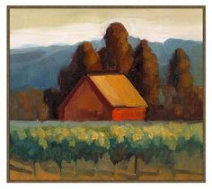 Sienna Barn Framed Canvas by Sally Rosenbaum, Sienna Barn - Large, 36 x 32