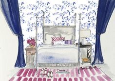 Toile Walls, pink striped rug, and deep navy drapes. Shop the painting on  Lydia Marie Elizabeth