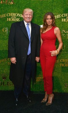 Melania showed off her trim figure in a red one-shoulder jumpsuit at the 2014 Central Park Horse Show presented by Rolex in New York City.