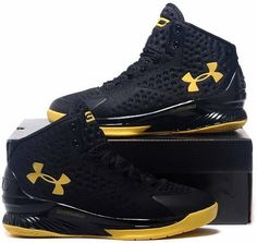 90853f573d9 Under Armour Curry Championship Black Yellow. NICHOLAS · Curry 1 Mens shoes  ...