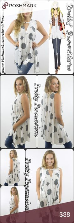 "NWT Black & White Mixed Print Boho Swing Top NWT Black & White Mixed Print Boho Swing Top  Available in S, M, L Measurements taken from a small  Length: 32"" Bust: 34"" Waist: 34""  100% Cotton   Features  • all over mixed print • keyhole cut out w/button closure • relaxed, easy swing fit • sleeveless  • soft, breathable material   Bundle discounts available  No pp or trades  Item # 1/208210380BWP WHITE TANK TOP Pretty Persuasions Tops Tunics"