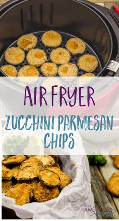 Air Fryer Zucchini Parmesan Chips I have a new kitchen gadget love! The Air Fryer! Y'all are missing out if you don't have one! Check out my Zucchini Parmesan Chips! via Awe Filled Homemaker Air Fryer Zucchini Parmesan Chips Parmesan Chips, Zucchini Parmesan, Fried Zucchini, Air Fryer Oven Recipes, Air Frier Recipes, Air Fryer Recipes Potatoes, Air Fryer Recipes Vegetables, Air Fryer Recipes Gluten Free, Air Fryer Recipes Breakfast
