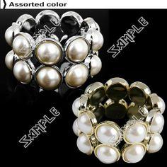 Faux Pearl Stretchy Bracelet Bangle Bracelets, Bangles, Hand Chain, Pearls, Color, Jewelry, Women, Fashion, Bracelets