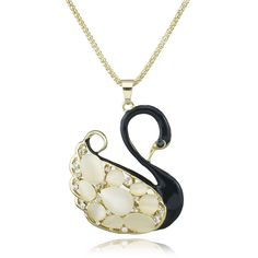 Noble Elegant Black Swan Gallant Opals Crystal Long Chain Pendant Necklace M153 #BECAUSELOST #Pendant