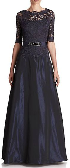 Teri Jon by Rickie Freeman Lace Top Taffeta Gown