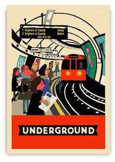 Paul Thurlby's London postcards from Lagom Design - Retro to Go Lagom Design, London Postcard, London Illustration, Elephant And Castle, London Transport, Public Transport, Railway Posters, Postcard Design, Vintage Posters