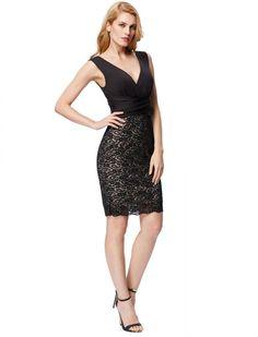 8125595d073 1950s Vintage Style Deep Surplice V Neck Elegant Lace Dress Retro Dress  Retro Outfits