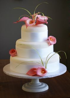 Pink Calla Lilies Cake..very simple and elegant