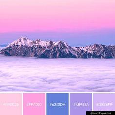 Pastel | Pink Paradise Mountains |Color Palette Inspiration. | Digital Art Palette And Brand Color Palette.