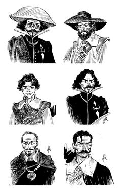 "A few portraits of characters from the book series ""Alatriste"", by Arturo Pérez-Reverte."
