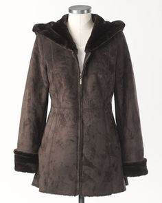 Ultra plush #hooded brown #coat  @Coldwater Creek $169.95
