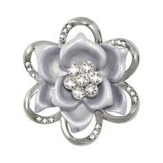 Hermione Floral Silver Tone Scarf Clip