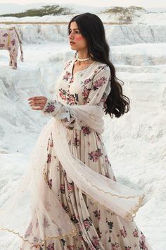Buy Printed Anarkali with Dupatta by Paulmi and Harsh at Aza Fashions Indian Attire, Indian Wear, Indian Outfits, White Anarkali, Anarkali Gown, Lehenga, Party Wear Indian Dresses, Dress Indian Style, Neck Designs For Suits