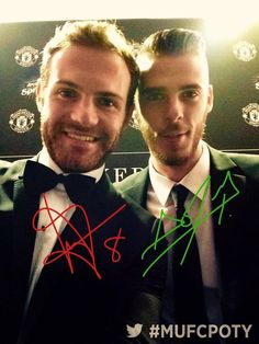 Mata & De Gea at Player of the Year Awards May 2015 Autographs