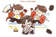 Jimin, Tae, and Suga - Ddaeng Practice Cartoon Fan, Bts Chibi, Bts Fans, Kpop Fanart, Memes, Boy Groups, My Idol, Anime Art, Disney Characters