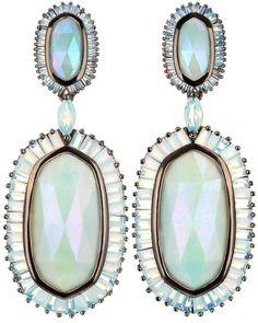 Baguette Gunmetal Hourglass Earrings in Amazonite - Kendra Scott.
