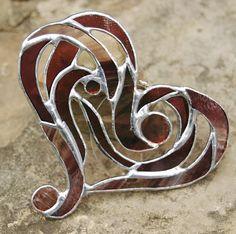 Stained #Glass #Heart #Suncatcher Wine Mauve Tribal Motif by GaleazGlass #etsyfollow