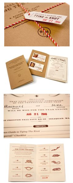 passport style wedding invitations  (G- I like the tying the knot addition to this one)
