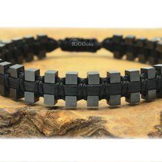 Bracelet noir homme/men's style shamballa cuir véritable perles hématite cube mat 3mm p96