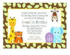 First Birthday Invitations Jungle Theme