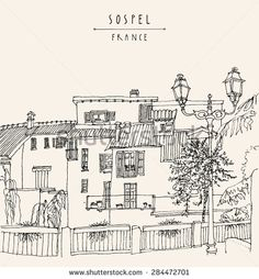 Vector picture of Sospel, France, Europe. River bank, residential houses, lamps and trees. Summer time vacation monochrome postcard poster template. Hand lettered title and space for text. Retro style