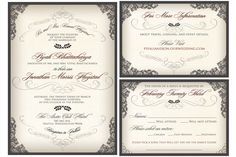 NEW Elegant, Script Wedding Invitation with Victorian Filigree Flourishes. Custom colors, font styles and wording... FREE. $2.75, via Etsy.