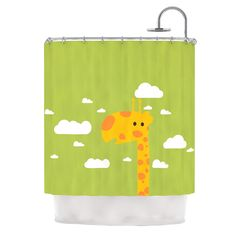 Baby Giraffe by Strawberringo Shower Curtain