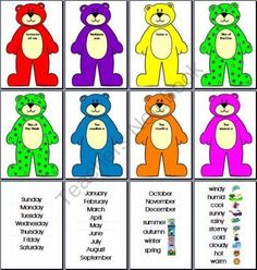 Interactive Days of the Week Bears from Imaginative Teacher on TeachersNotebook.com -  (13 pages)  - Have your students/star of the day change the day names each morning to remind them of the sequence in which the days occur. Star Of The Day, Classroom Ideas, Bears, Preschool, Students, Teacher, Names, Change, Seasons
