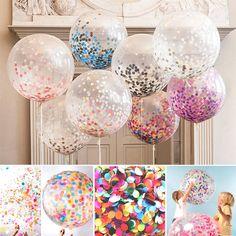 "5Pcs 12"" Colorful Confetti Balloon Birthday Wedding Party Decor Helium Balloons"
