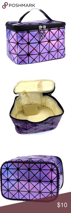 """Purple Holographic Geometric Makeup Case A beautiful rectangular makeup case with a holographic geometric pattern. Has a black handle and zips on the top. Has straps on the interior for holding compact mirrors and brushes. Trendy, bright and convenient. Perfect to use as a cosmetic bag or a toiletry case.  Materials: plastic, nylon  Weight: 0.1lb  Size: one size  Measurements:  length = 7.5"""" width = 5.1"""" height = 4.8"""" Bags Cosmetic Bags & Cases Asian Makeup Trends, Compact Mirror, Makeup Case, Purple And Black, Holographic, Cosmetic Bag, Brushes, Mirrors, Cases"""