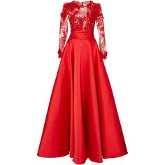 Lace And Satin Gown With Back Bow | Moda Operandi (186.920 CZK) ❤ liked on Polyvore featuring dresses, gowns, red, evening gown, long dress, red ball gown, long sleeve lace gown, red lace dresses, long lace gown and red lace gown