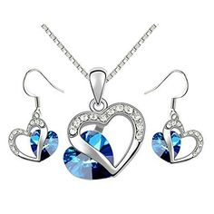 [Love of Crystal] Yoursfs 18k White Gold Plated Heart of Ocean Sapphire Necklace and Earring Set >>> Learn more by visiting the image link.