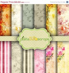 ON SALE Miracle Vol2 - 12 Shabby Chic Digital Papers - 12x12inch - Printable Floral Garden Shabby themed Backgrounds -  INSTANT Download