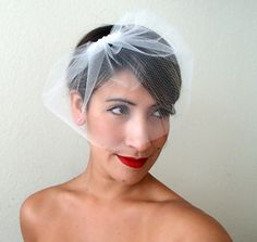 Birdcage Veil/ Ivory or White Tulle Birdcage by BellaBboutique, $40.00
