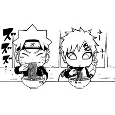 Kawaii chibi Naruto and Gaara having ramen.