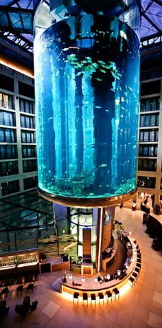 Radisson Blu Hotel - Atrium Lobby Lounge & Bar, Berlin (Germany) The Atrium Lobby Lounge Bar is situated in the heart of the hotel underneath the spectacular AquaDom, the world's largest cylindrical aquarium with one million litres of seawater. The Places Youll Go, Places To Go, Hotel Berlin, Hotel Sites, Berlin Germany, Berlin Berlin, Munich, Atrium, Historical Sites
